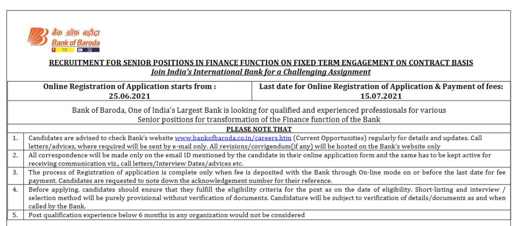 Bank Of Baroda Bharti 2021