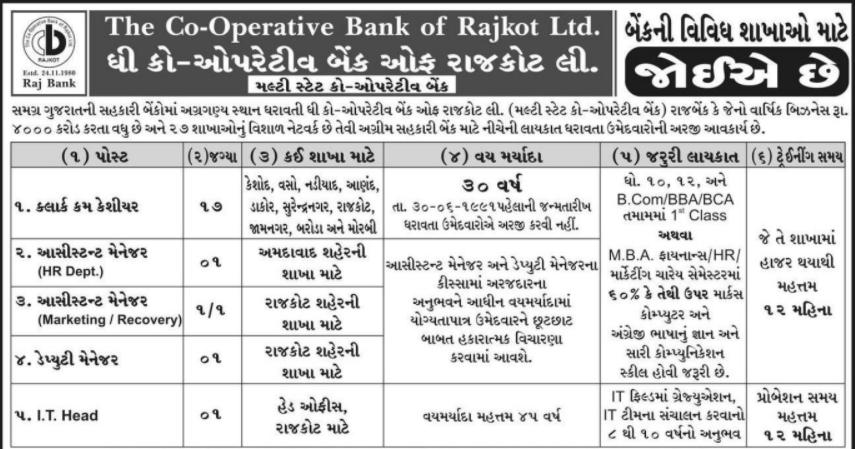 Co-operative bank Rajkot Bharti
